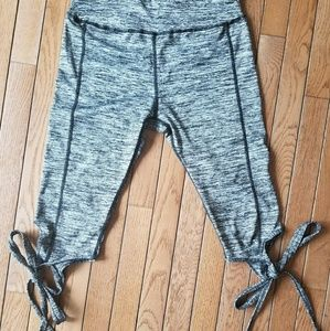 Pants - Tie bottom crop yoga pants gray marl Heather